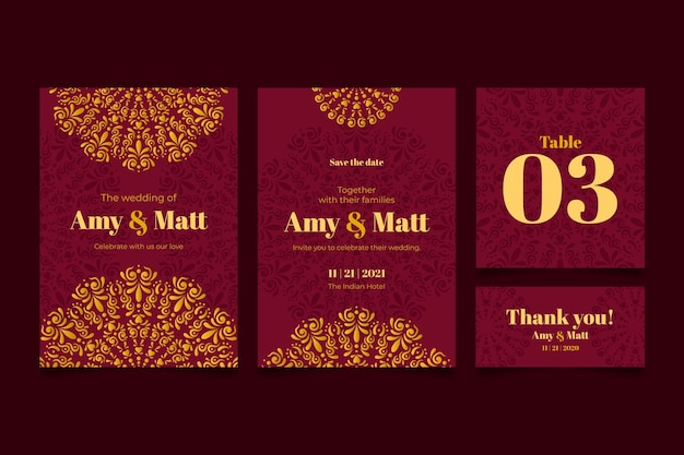 Indian wedding stationery concept