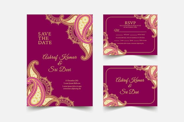 Indian wedding stationery template collection