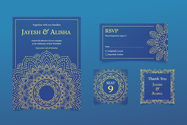 Indian wedding stationery with mandala