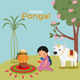 Indian woman and cow with pongal rice for happy pongal festival