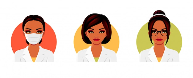 Indian woman doctor in white medical uniform with various hairstyles, glasses and face mask. female avatars set.  illustration.