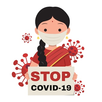 Indian woman holding a placard sign with text stop covid-19