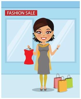 An indian woman shopping