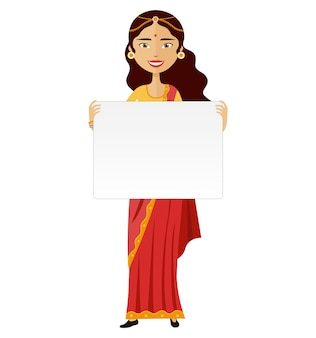 Indian woman standing holding blank sign isolated