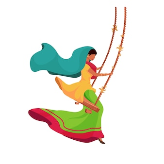 Indian woman on swing flat color faceless character