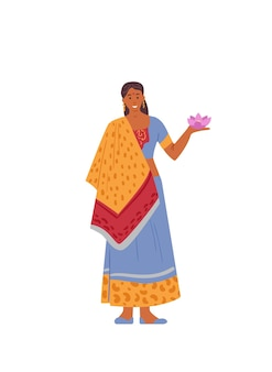 Indian woman in traditional dress holding lotus flower v