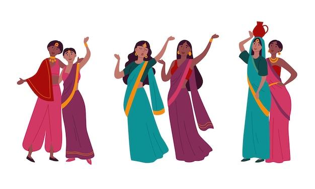 伝統的な国民のサリーの服を着たインドの女性