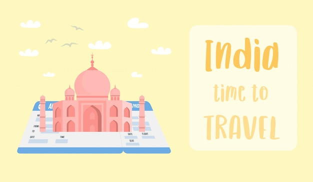 Indian world famous landmark vector banner layout.