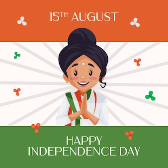 Indian young girl in welcome pose on indian flag background wishing happy independence day