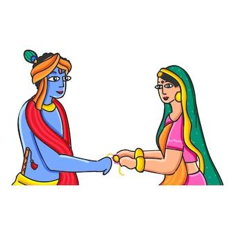 白い背景の上のクリシュナ卿にラキを結ぶインドの若い女性またはスバドラー。