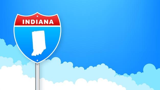 도 표지판에 인디애나 지도입니다. 인디애나 주에 오신 것을 환영합니다. 벡터 일러스트 레이 션.