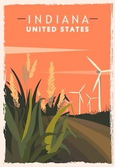 インディアナのレトロなポスター。アメリカインディアナ旅行のイラスト。