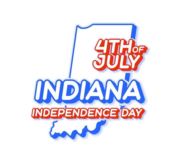 Штат индиана 4 июля в день независимости с картой и национальным цветом сша 3d-формой сша