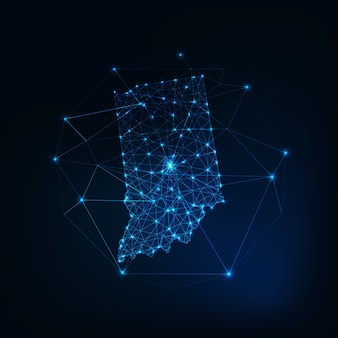 Indiana state usa map made of stars lines dots triangles, low polygonal shapes.