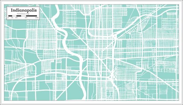 Карта города индианаполис сша в стиле ретро. контурная карта. векторные иллюстрации.