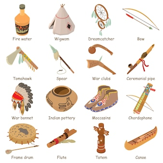 インド人の民族アメリカのアイコンを設定します。 webの16のインド人の民族アメリカのベクトルのアイコンの等角投影図