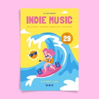 Инди-музыка событие дизайн плаката
