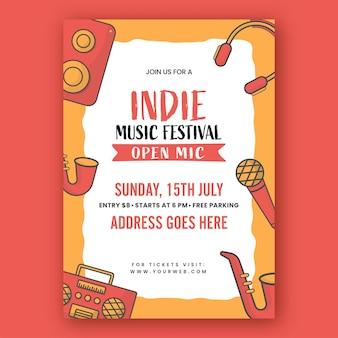 악기 및 이벤트 세부 정보가 포함된 인디 음악 축제 초대장 템플릿 레이아웃.