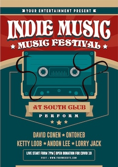 Indie music festival night party flyer