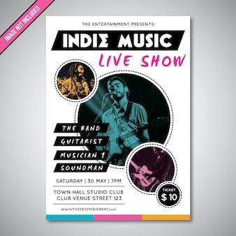 インディーズミュージックライブショーのチラシテンプレート