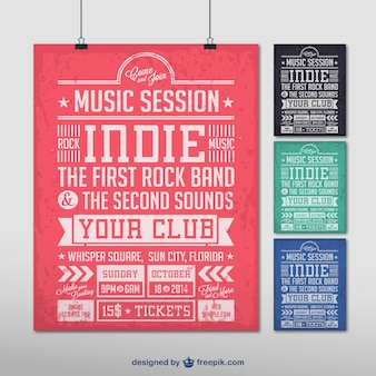Indie music party poster set