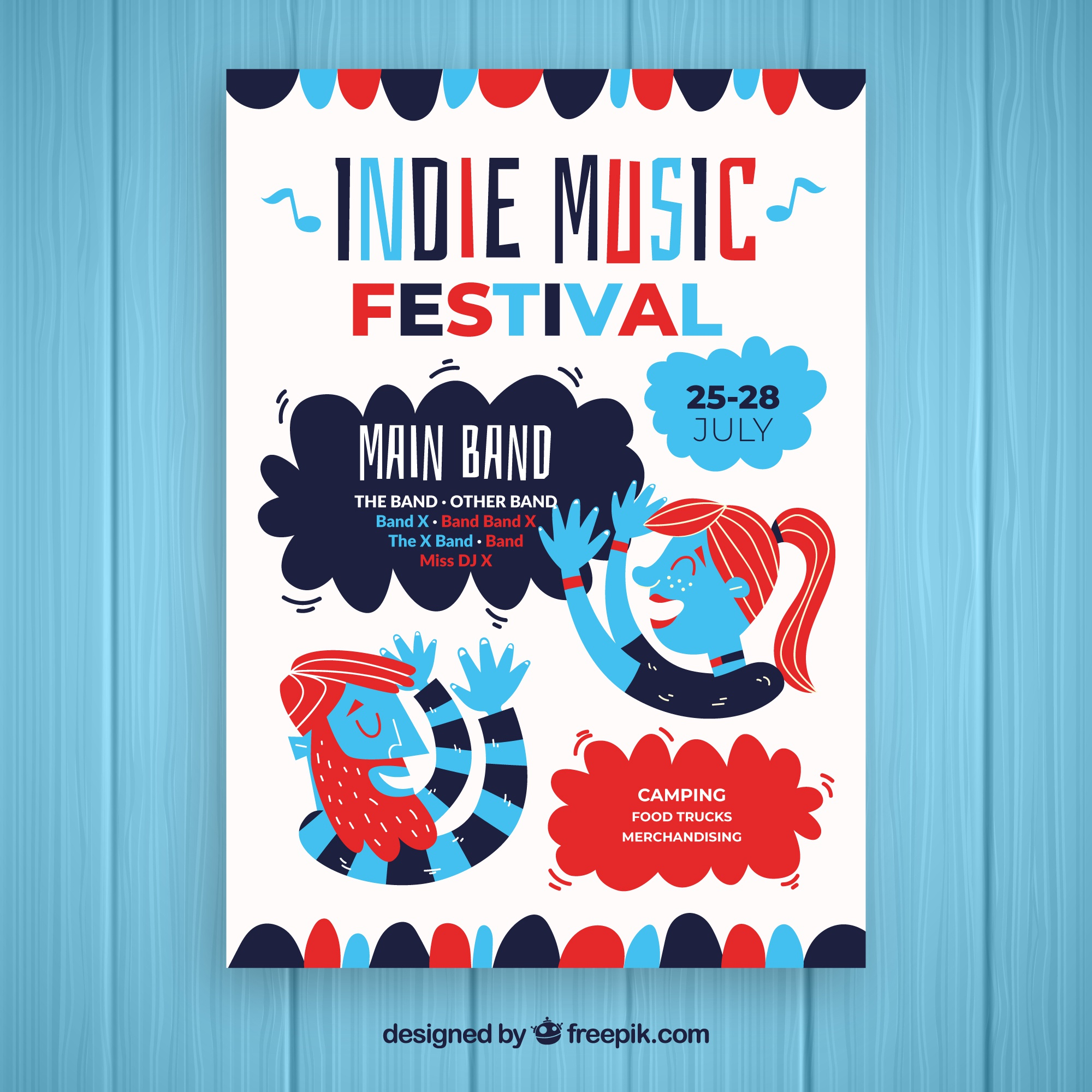 Indie music party poster template