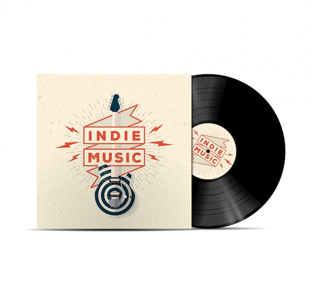 Indie music vinyl disc cover mockup. cover for your music playlist. realistic  illustration.