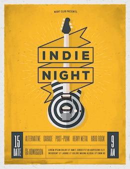 インディーロックミュージックのナイトパーティー、フェスティバルチラシ、ポスター、イベントのバナーテンプレート。トレンディなビンテージスタイルのイラスト。