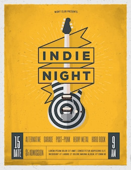 Indie rock music night party, festival flyer, poster, banner template for your event. trendy vintage styled  illustration.