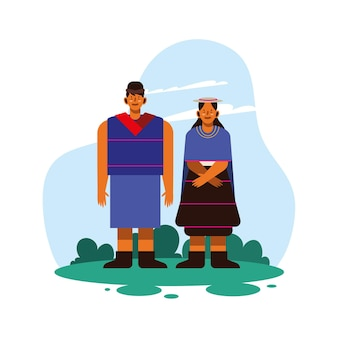 Indigenous couple with traditional cloth on white background