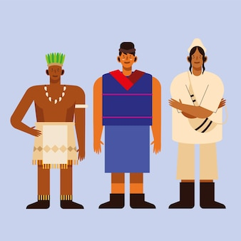 Indigenous men with traditional cloth on blue background