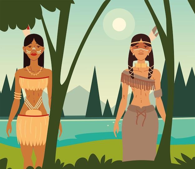 숲속의 원주민 여성들