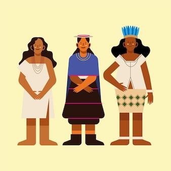 노란색 배경에 전통 천을 입은 원주민 여성