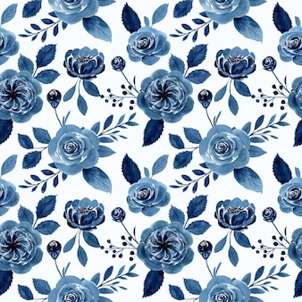 Индиго голубая роза цветок акварель бесшовный фон