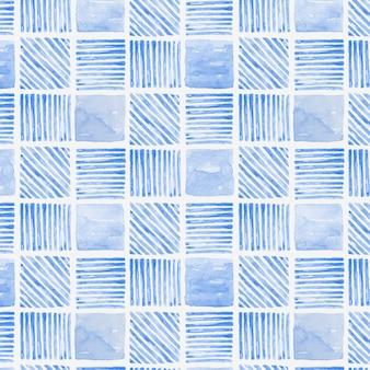 インディゴブルーの水彩幾何学的なシームレスパターンの背景