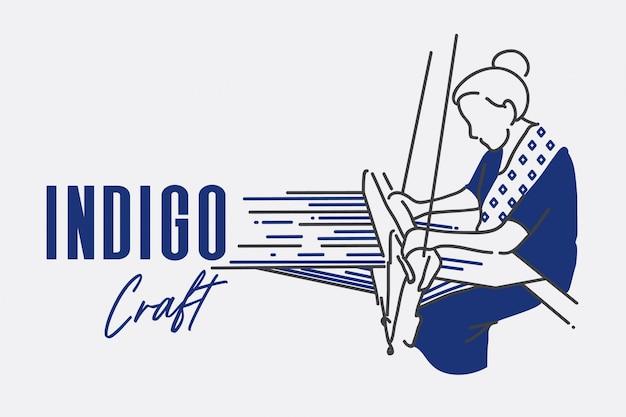 インディゴクラフト女性織りアクションショットベクトルイラスト。