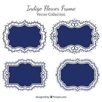 Indigo floral frames