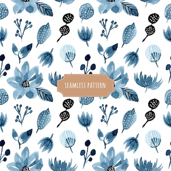 Indigo floral watercolor seamless pattern