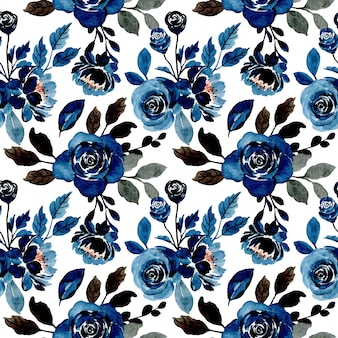 Indigo floral watercolor seamless pattern