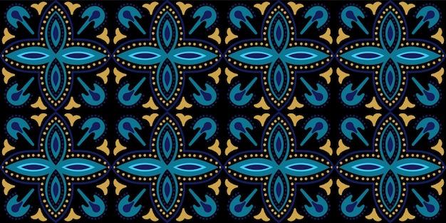 インディゴの幾何学的なアラベスクのシームレスなパターン。抽象的なアラブのデザイン。ダークブルーとゴールドメッキモロッコの花のテクスチャ。