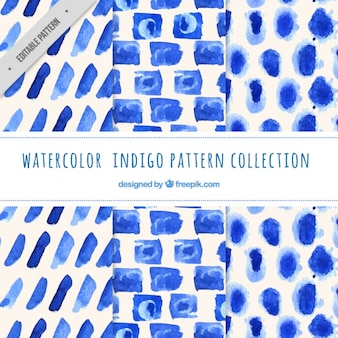 Indigo patterns, painted with watercolor