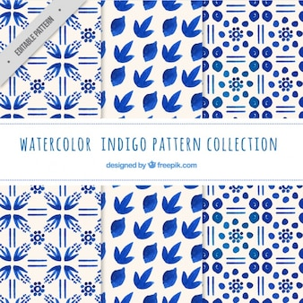 Indigo patterns, watercolor
