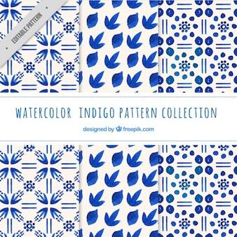 Indigo patterns, watercolor
