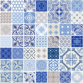 인디고 원활한 패치 워크 패턴-단색 타일 세트-벽지, 디자인, 배경, 질감, interiours 용