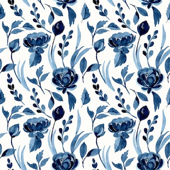 Indigo seamless pattern with watercolor flowers