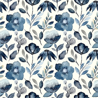 Indigo watercolor floral seamless pattern