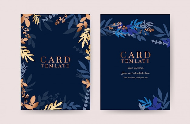 Indigo wedding invitation card vector
