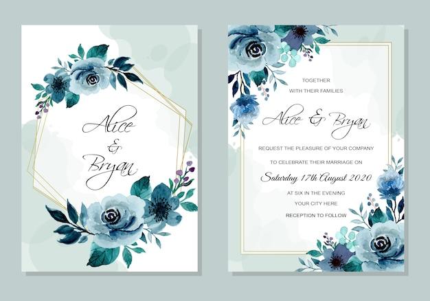 Indigo wedding invitation card with floral watercolor