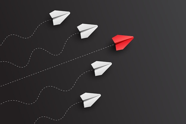 Отдельный лидер бумажный самолетик ведет за собой других. концепция бизнеса и лидерства. векторная иллюстрация