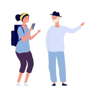 개인 여행. 남자는 독신 소녀를 위해 여행을 실시합니다. 배낭이 있는 평평한 관광객은 길을 묻습니다. 노인 벡터 일러스트와 함께 얘기 하는 고립 된 여자. 여행에 여자 관광, 남자 캐릭터